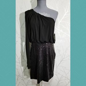 Laundry by Shelli Segal One Shoulder Sequin Dress